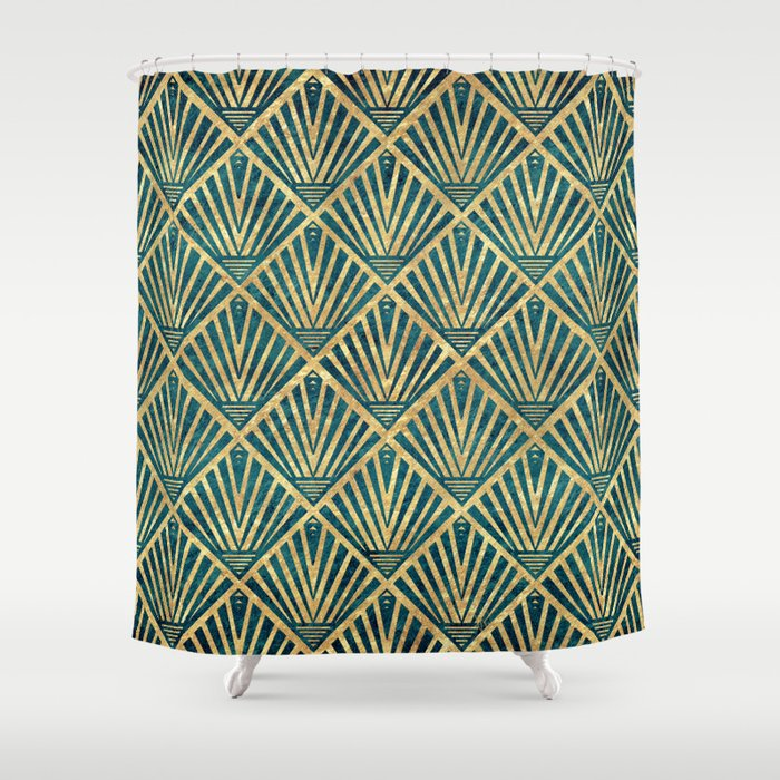 Stylish Geometric Diamond Palm Art Deco Inspired Shower