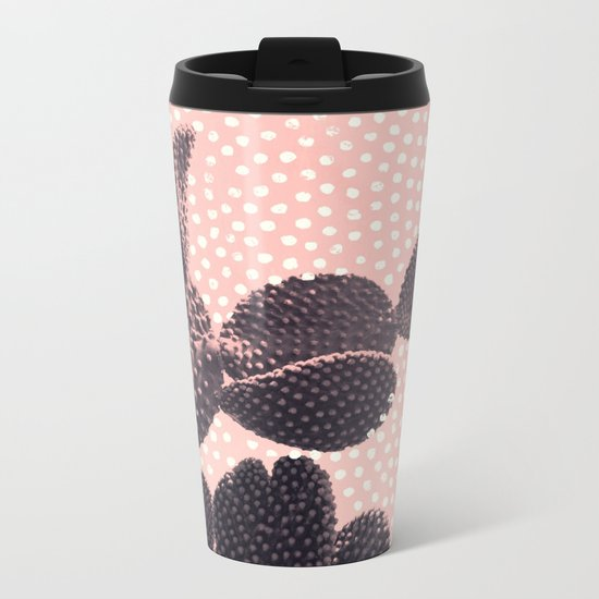 Cactus with Polka Dots Metal Travel Mug