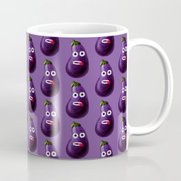 Funny Cartoon Eggplant Pattern Coffee Mug