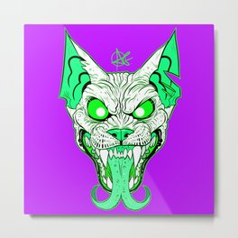 GREEN Demon Sphynx Cat Metal Print