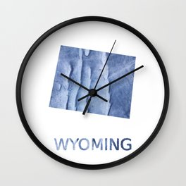 Wyoming map outline Blue watercolor Wall Clock