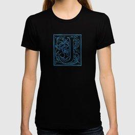 Letter J Elegant Antique Floral Letterpress Monogram T-shirt