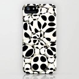 black and white circles in squares iPhone Case