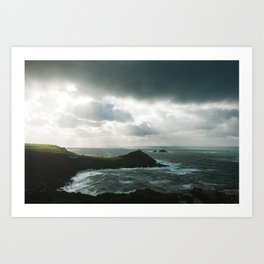 Cape Cornwall stormy Art Print