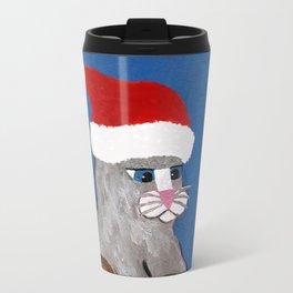 Christmas Cat Playing a Guitar and Wearing a Santa Hat Travel Mug