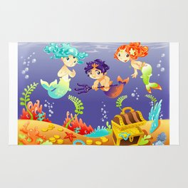 Baby Sirens and Baby Triton with background. Rug