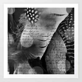 Between feathers and words Art Print