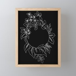 Black Floral Circle Framed Mini Art Print