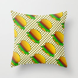 Burgers Lovers Diagonal Pattern Throw Pillow