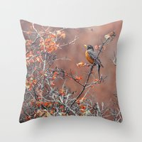 robin Throw Pillows featuring robin by RasaOm