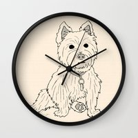 westie Wall Clocks featuring Westie Sketch by Circus Dog Industries