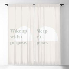 Wake Up With A Purpose   Motivational Business   Entrepreneur Quote   Sage Green and Beige Blackout Curtain