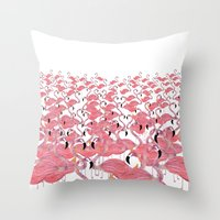flamingos Throw Pillows featuring Flamingos by Lydia Coventry
