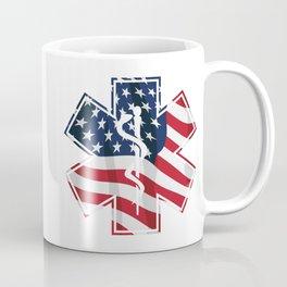 Patriotic Paramedic EMT EMS Star of Life Medical Service Symbol with USA Flag Overlay Coffee Mug