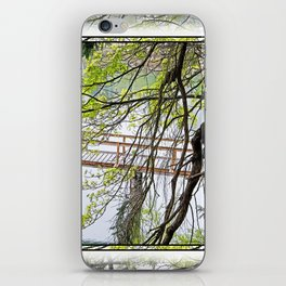 RAINY SPRING DAY AT THE DOCK IN THE WOODS iPhone Skin