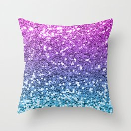 Bright Blue Purple Glitters Sparkling Pretty Chic Bling Background Throw Pillow