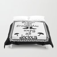mary poppins Duvet Covers featuring Mary Poppins Quote by Whimsy and Nonsense