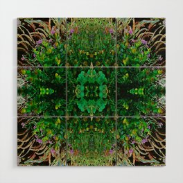 Cocoplum and Cattails op nature pattern Wood Wall Art