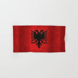 National flag of Albania with Vintage textures Hand & Bath Towel