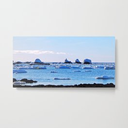 Snow Topped Boulders Metal Print