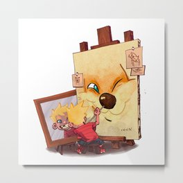 Calvin And Hobbes Sketch Metal Print