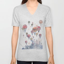 Voyages Over Santa Monica ~ Refresh Unisex V-Neck