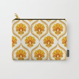 Ivory, Orange, Yellow and Brown Floral Retro Vintage Pattern Carry-All Pouch