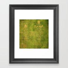 Green with Gold Script Framed Art Print