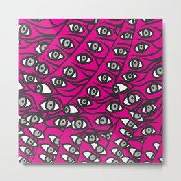 Freddie Eyeballs Fuschia Hot Pink Red Metal Print