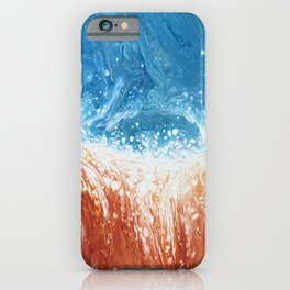 Fire and Ice Orange and Blue Abstract Fluid Art iPhone Case