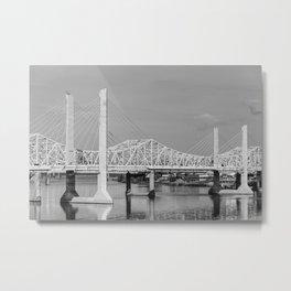 Louisville Bridges on the Ohio River - Black and White Metal Print