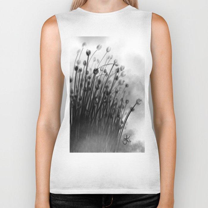 Black Lily Flowers Biker Tank