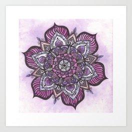 Pink and Purple Watercolour Mandala Art Print