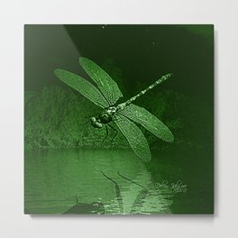 Dragonfly Night Reflections in Green Metal Print