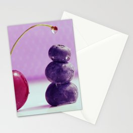 Food Design fresh Cherry and Bluebeeries Stationery Cards