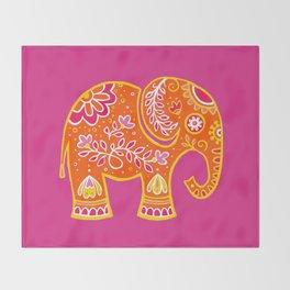 the magic elephant ... orange Throw Blanket