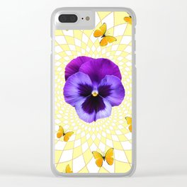 PANSY & YELLOW BUTTERFLIES  GEOMETRIC PATTERN Clear iPhone Case