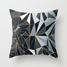 Stylish Art Deco Geometric Pattern - Black, blue, Gold #abstract #pattern Throw Pillow