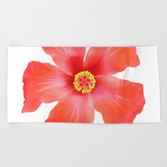 Tropical Hibiscus Flower Vector Beach Towel