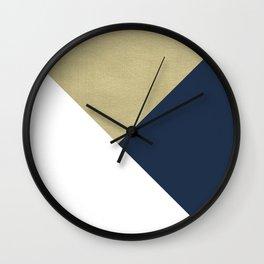 Gold meets Navy Blue & White Geometric #1 #minimal #decor #art #society6 Wall Clock