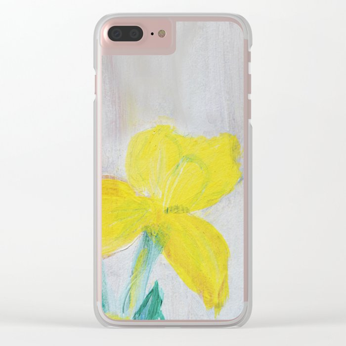 yellow summer iris Clear iPhone Case