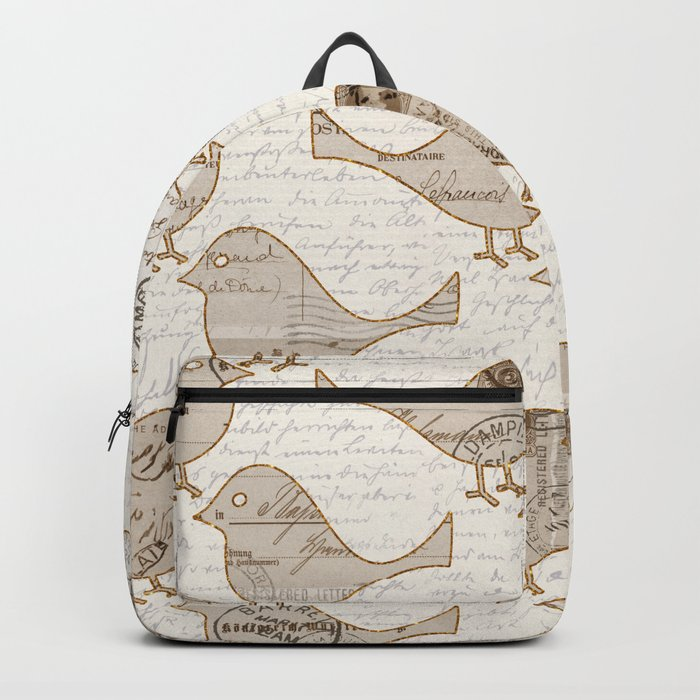 old letter pattern vintage birds art Backpack