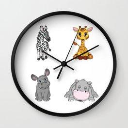 Cute African Animals Wall Clock