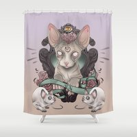 sphynx Shower Curtains featuring Sphynx by AlchemyArt