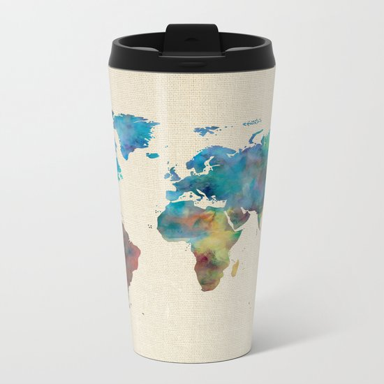 World Map Watercolor Linen Blue Red Yellow Green Metal Travel Mug