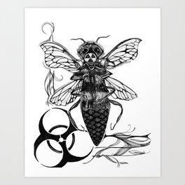Bee Warned II - Inktober #13 Art Print
