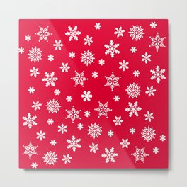 Snow Flurries-Christmassy Red Metal Print