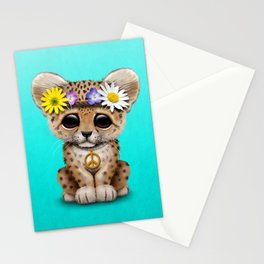 Cute Baby Leopard Cub Hippie Stationery Cards