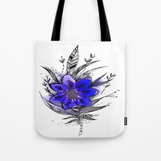 Blue Flower Feather Tote Bag