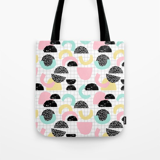 Pretty Much - abstract minimal memphis 80s style retro throwback grid pattern design Tote Bag